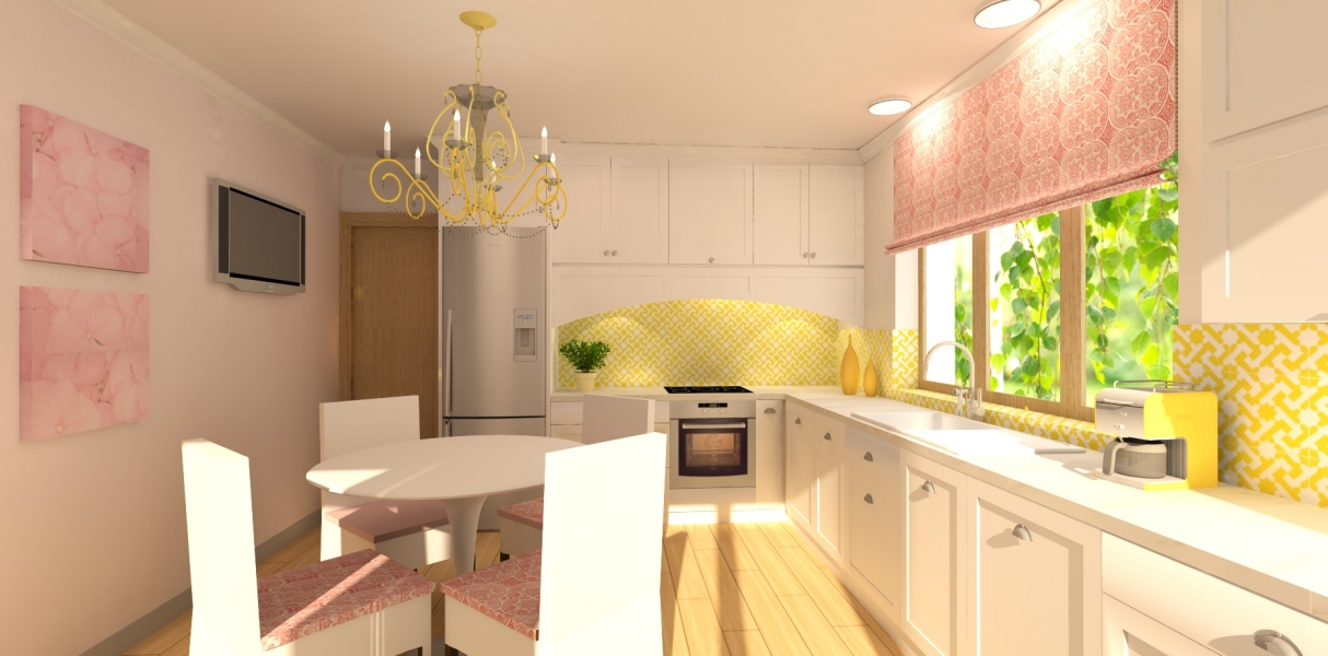 bright-yellow-and-pink-kitchen